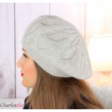 Bonnet béret femme hiver cachemire laine luxe beige lx49 Béret femme