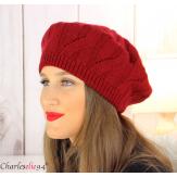Bonnet béret femme hiver cachemire laine luxe bordeaux lx49 Béret femme