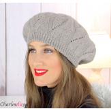Bonnet béret femme hiver cachemire laine luxe taupe lx49 Béret femme