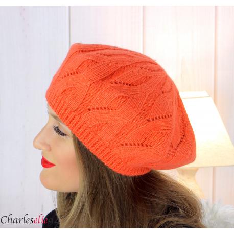 Bonnet béret femme hiver cachemire laine luxe orange lx49 Béret femme