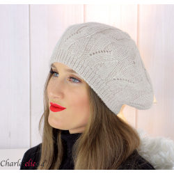 Bonnet béret femme hiver cachemire laine luxe écru lx49 Béret femme