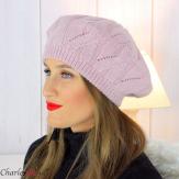 Bonnet béret femme hiver cachemire laine luxe rose lx49 Béret femme
