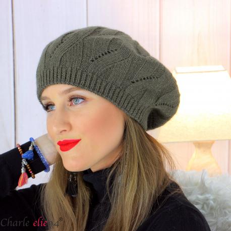 Bonnet béret femme hiver cachemire laine luxe kaki lx49 Béret femme