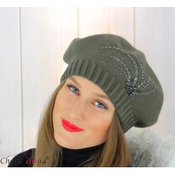 Bonnet béret femme hiver cachemire brodé perles kaki 6624 Béret femme