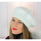 Bonnet béret femme hiver cachemire brodé perles écru 6624 Béret femme