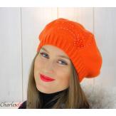Bonnet béret femme hiver cachemire brodé perles orange 6624 Béret femme