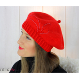 Bonnet béret femme hiver cachemire brodé perles rouge 6624 Béret femme