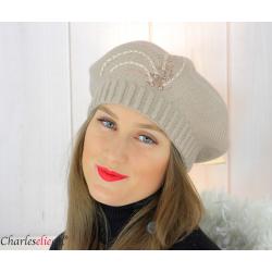 Bonnet béret femme hiver cachemire brodé perles beige rosé 6624 Béret femme