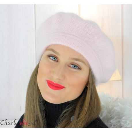 Bonnet béret femme hiver angora laine luxe rose SC03 Accessoires mode femme