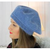 Bonnet béret femme hiver angora laine luxe bleu jean SC03 Accessoires mode femme