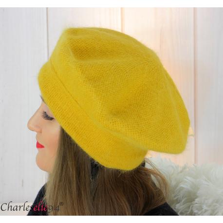 Bonnet béret femme hiver angora laine luxe moutarde SC03 Accessoires mode femme