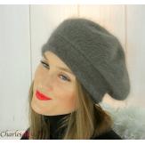 Bonnet béret femme hiver angora laine luxe kaki SC03 Accessoires mode femme