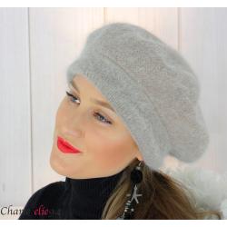 Bonnet béret femme hiver angora laine luxe taupe SC03 Accessoires mode femme