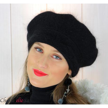 Bonnet béret femme hiver angora laine luxe noir SC03 Accessoires mode femme
