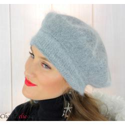 Bonnet béret femme hiver angora laine luxe gris SC03 Accessoires mode femme