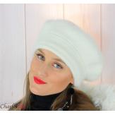 Bonnet béret femme hiver angora laine luxe écru SC03 Accessoires mode femme