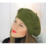 Bonnet béret femme hiver angora laine luxe kaki LX01 Accessoires mode femme
