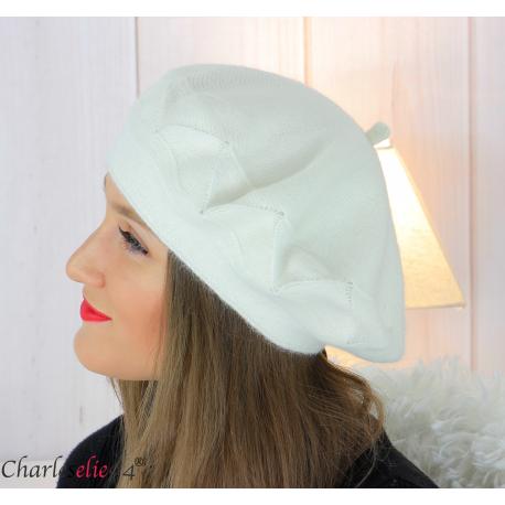 Bonnet béret femme hiver angora laine luxe écru LX01 Accessoires mode femme
