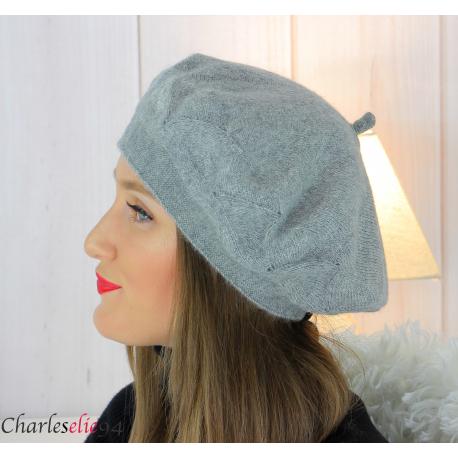 Bonnet béret femme hiver angora laine luxe gris LX01 Accessoires mode femme
