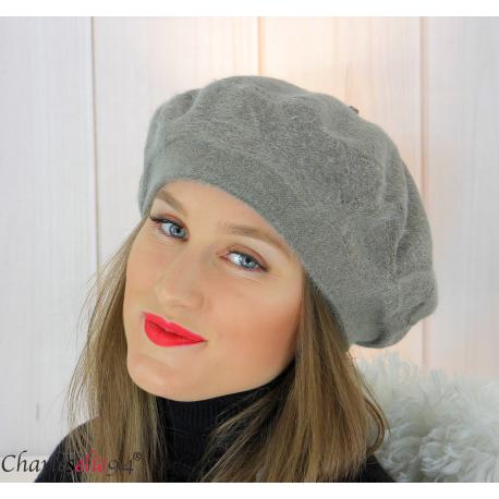 Bonnet béret femme hiver angora laine luxe taupe LX01 Accessoires mode femme