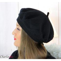 Bonnet béret femme hiver angora laine luxe noir LX01 Accessoires mode femme