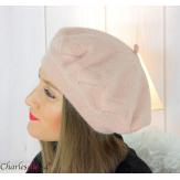 Bonnet béret femme hiver angora laine luxe rose LX01 Accessoires mode femme
