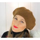 Bonnet béret femme hiver angora laine luxe choco HL21 Accessoires mode femme