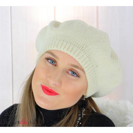 Bonnet béret femme hiver angora laine luxe beige or HL21 Accessoires mode femme