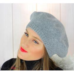 Bonnet béret femme hiver angora laine luxe gris HL21 Accessoires mode femme