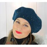 Bonnet béret femme hiver angora laine luxe bleu or HL21 Accessoires mode femme