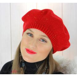 Bonnet béret femme hiver angora laine luxe rouge or HL21 Accessoires mode femme