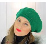 Bonnet béret femme hiver angora laine luxe vert or HL21 Accessoires mode femme