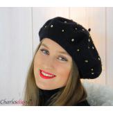 Béret femme hiver pure laine bijoux strass noir 6622 Béret femme