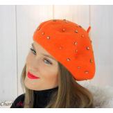 Béret femme hiver pure laine bijoux strass orange 6622 Accessoires mode femme