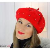 Béret femme hiver pure laine bijoux strass rouge 6622 Accessoires mode femme