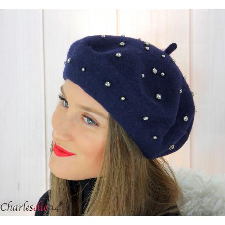 Béret femme hiver pure laine bijoux strass bleu marine 6622 Accessoires mode femme