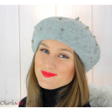 Béret femme hiver pure laine bijoux strass gris 6622 Accessoires mode femme