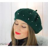 Béret femme hiver pure laine bijoux strass vert 6622 Accessoires mode femme
