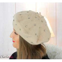 Béret femme hiver pure laine bijoux strass beige 6622 Accessoires mode femme