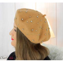 Béret femme hiver pure laine bijoux strass camel 6622 Accessoires mode femme