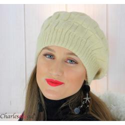 Béret bonnet femme hiver tricot doublé polaire beige 6623 Accessoires mode femme