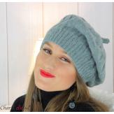 Béret bonnet femme hiver tricot doublé polaire gris 6623 Accessoires mode femme