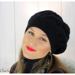 Béret bonnet femme hiver tricot doublé polaire noir 6623 Accessoires mode femme