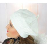 Béret bonnet femme hiver tricot doublé polaire écru 6623 Accessoires mode femme