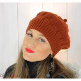 Béret bonnet femme hiver tricot doublé polaire brique 6623 Accessoires mode femme