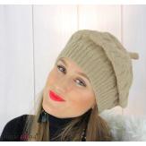 Béret bonnet femme hiver tricot doublé polaire taupe 6623 Accessoires mode femme