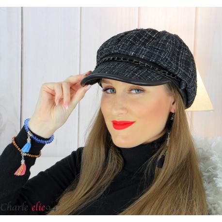 Casquette femme hiver couture laine chainette noire 6639 Accessoires mode femme