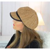 Casquette femme hiver couture laine chainette choco 6639 Accessoires mode femme