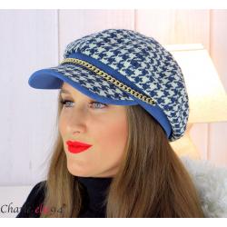 Casquette femme hiver couture laine chainette bleu 6610 Accessoires mode femme