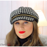 Casquette femme hiver couture laine chainette noire 6610 Accessoires mode femme